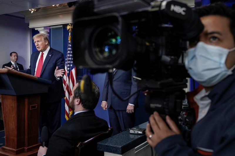 U.S. President Donald Trump speaks during the daily briefing of the coronavirus task force at the White House on April 22, 2020 in Washington, D.C.