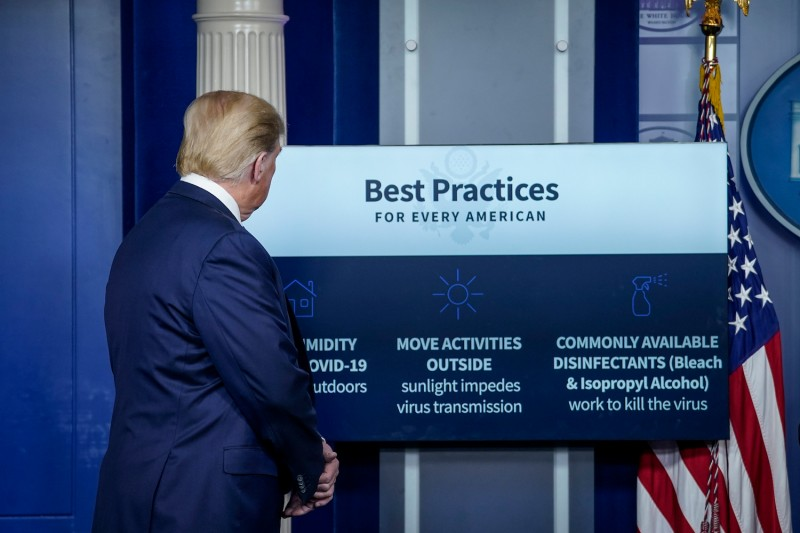 U.S. President Donald Trump participates in the daily briefing of the coronavirus task force at the White House on April 23.