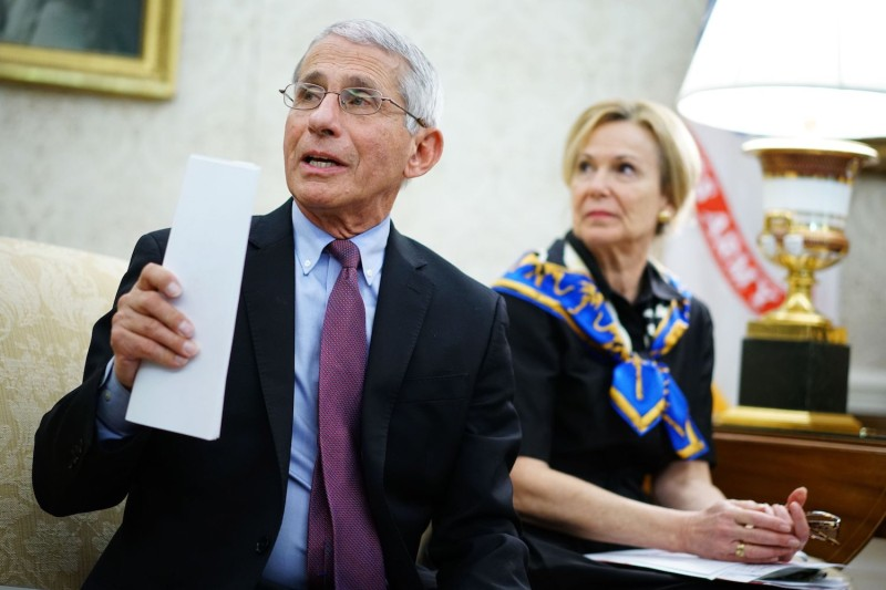 Anthony Fauci speaks next to  Deborah Birx, during a meeting with U.S. President Donald Trump at the White House on April 29.