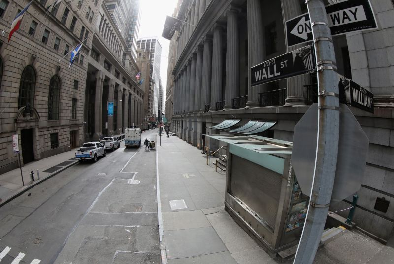 A mostly empty Wall Street