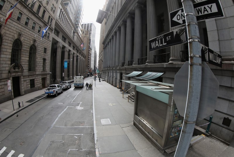 A mostly empty Wall Street