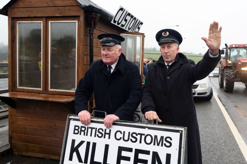 Demonstrators set up a mock customs checkpoint to protest against potential trade restrictions due to Brexit in Killeen, Northern Ireland, on Feb. 18, 2017.