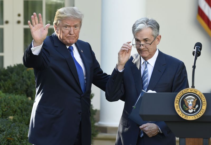 U.S. President Donald Trump and Jerome Powell