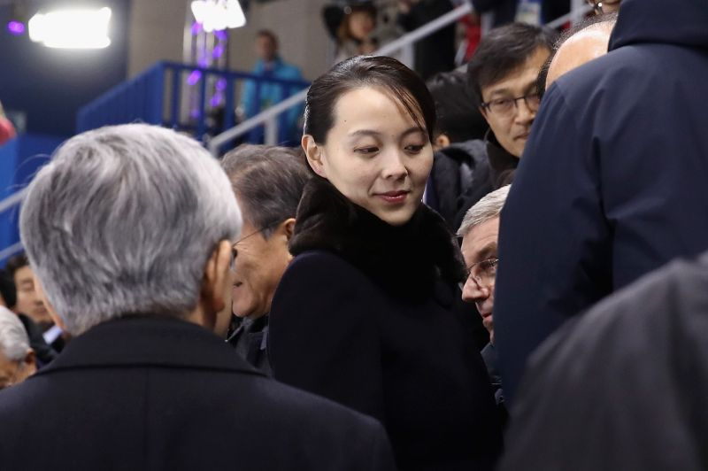 Kim Yo Jong, the sister of North Korean leader Kim Jong Un, attends an ice hockey match during the Pyeongchang Winter Olympics in Gangneung, South Korea, on Feb. 10, 2018.