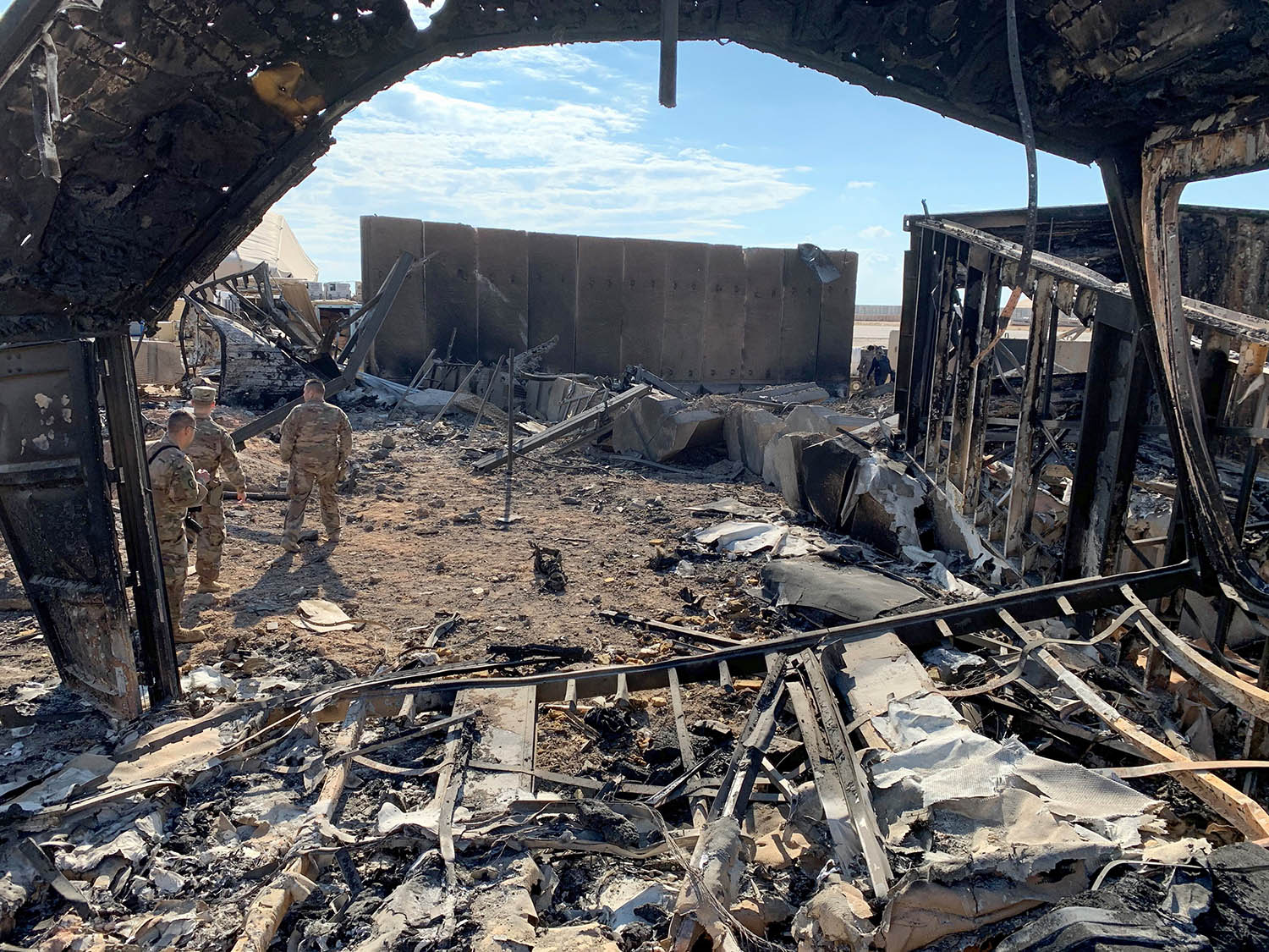 A view of the damage at Ain al-Asad military airbase housing U.S. and other foreign troops after Iranian missile attacks in the western Iraqi province of Anbar on Jan. 13.