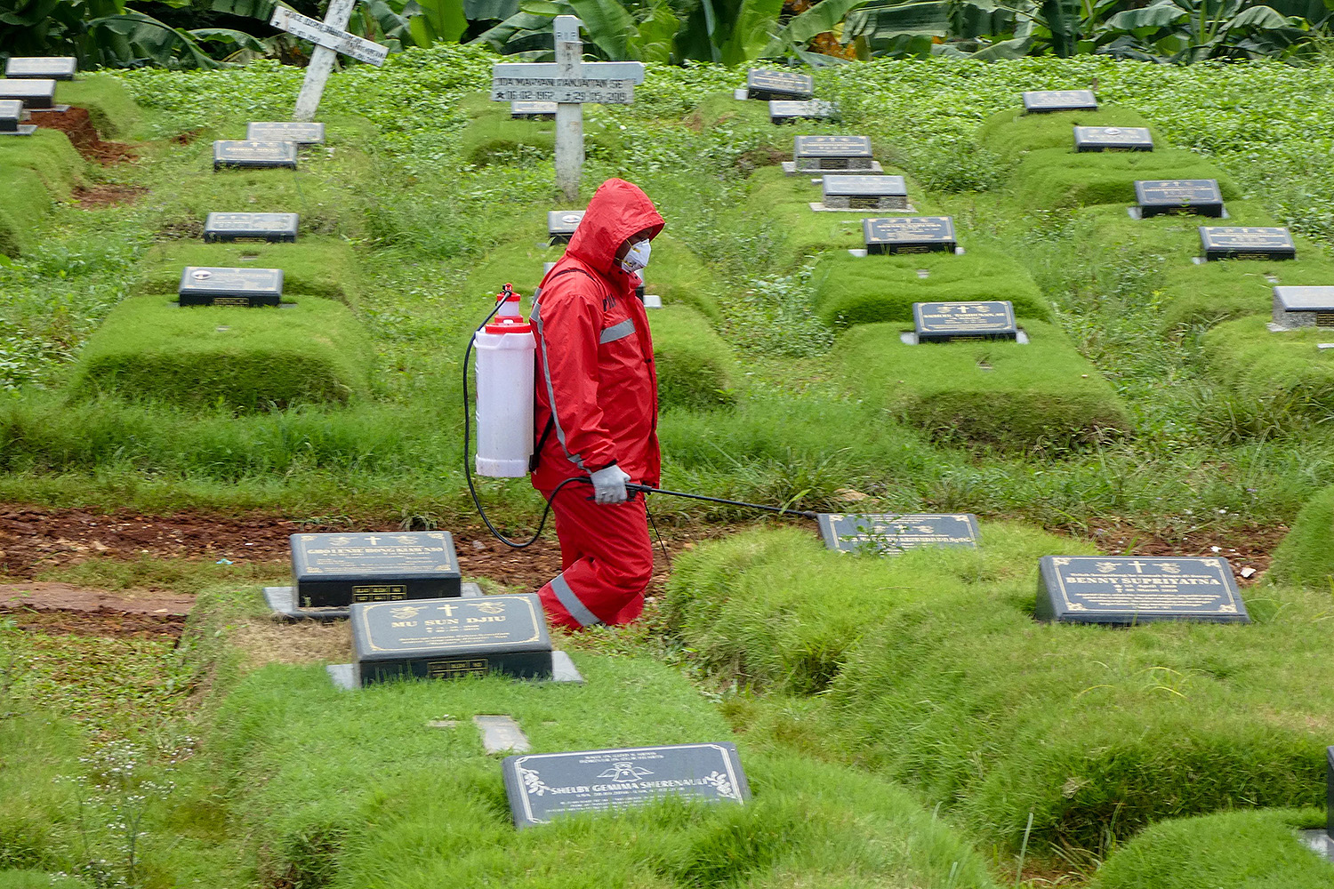 A worker sprays disinfectant at a graveyard during the funeral of a coronavirus victim in Jakarta, Indonesia, on March 31. BAY ISMOYO/AFP via Getty Images