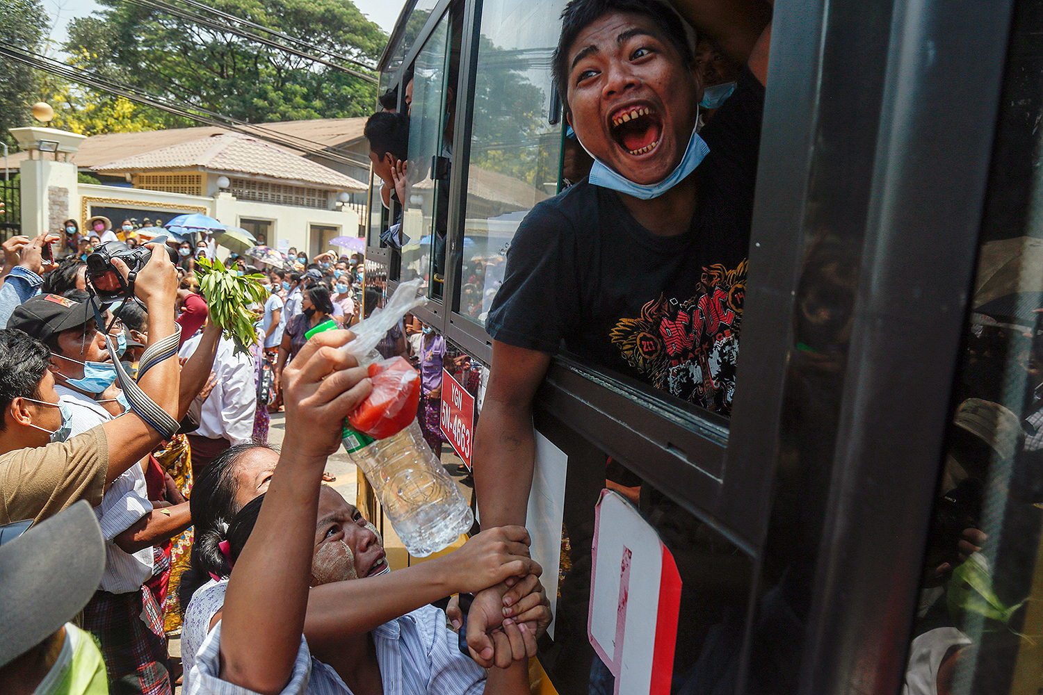 A man reacts as he is released from Insein Prison in Yangon, Myanmar, on April 17, as part of an annual amnesty to thousands of prisoners to mark the April New Year holiday. SAI AUNG MAIN/AFP via Getty Images