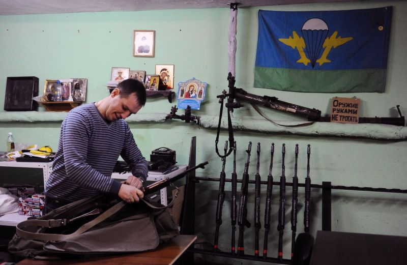 Denis Gariev, a member of the Russian Imperial Movement who fought alongside Russian-backed rebels in eastern Ukraine, is pictured at a training center in St. Petersburg on Feb. 28, 2015.