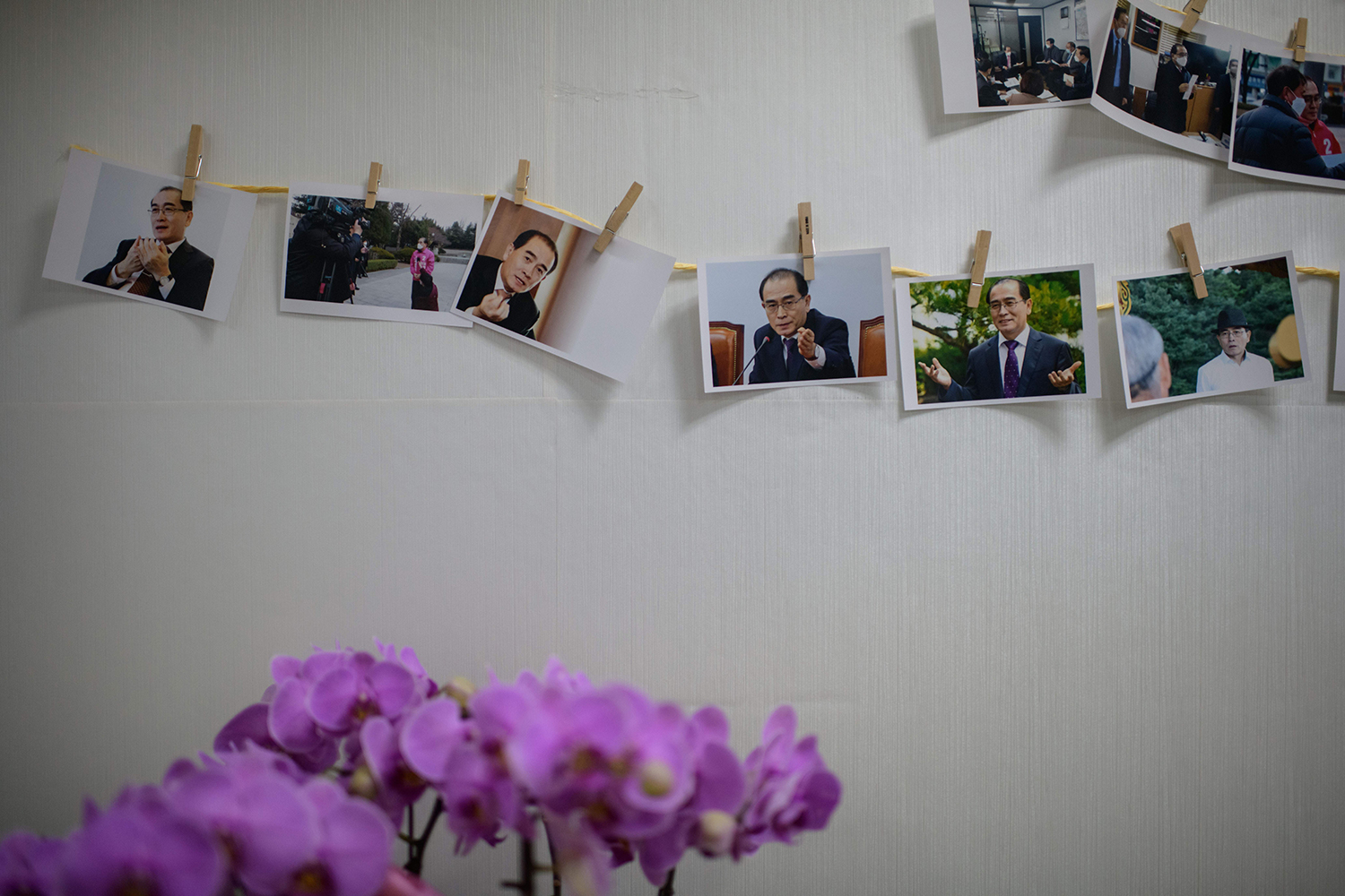 Photos of Thae are displayed at his campaign headquarters in Seoul on March 28.