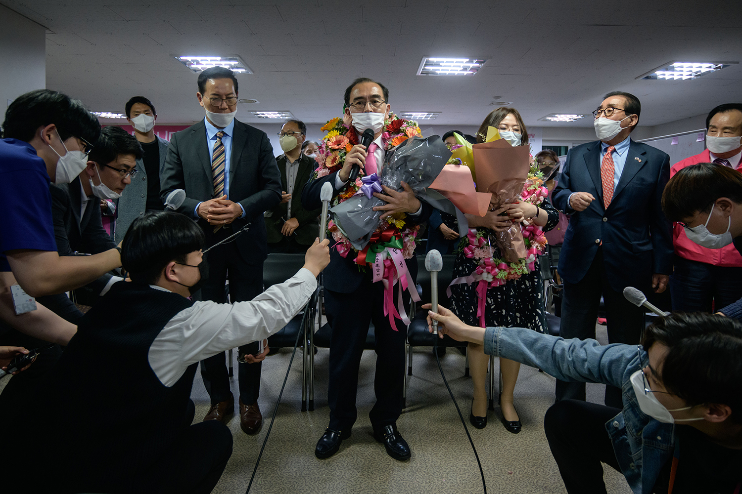 Thae speaks to the media after securing a majority vote in his Gangnam constituency on behalf of the conservative United Future Party during South Korea's parliamentary elections, at his campaign headquarters in the Gangnam district of Seoul on April 16.