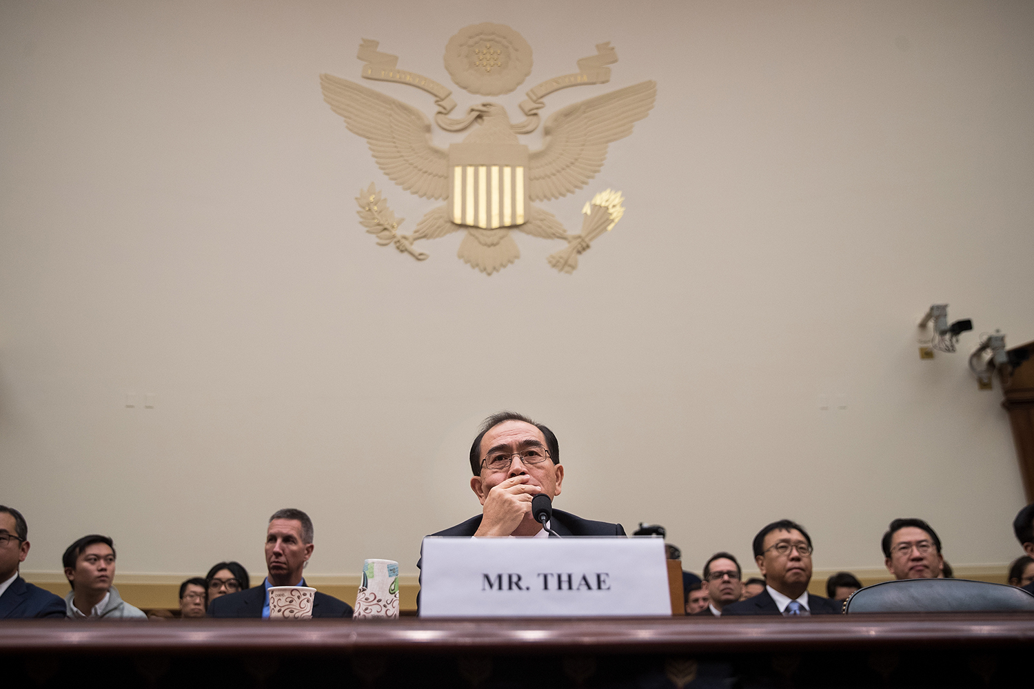 Thae testifies during a House Foreign Affairs Committee hearing on Capitol Hill in Washington, D.C., on Nov. 1, 2017.
