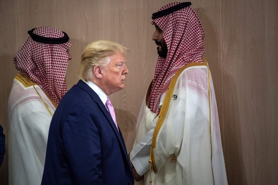 U.S. President Donald Trump and Saudi Crown Prince Mohammed Bin Salman (right) arrive for a meeting at the G-20 Summit in Osaka, Japan, on June 28, 2019.