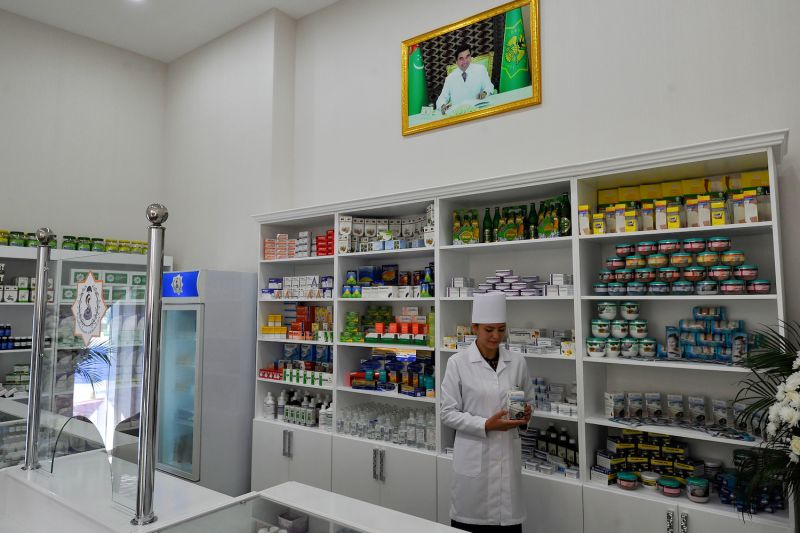 A pharmacy in the Turkmen capital of Ashgabat on April 8. Isolated Turkmenistan is one of only a handful of countries to have reported no coronavirus cases, but experts are highly skeptical.