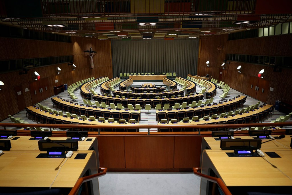 The empty chamber of the U.N. headquarters