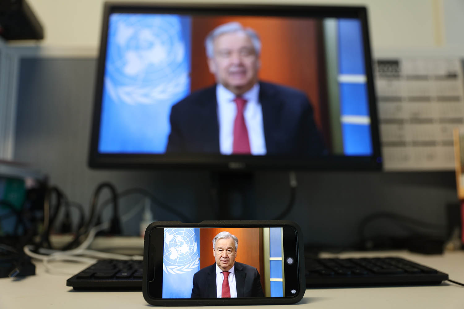 Secretary-General Antonio Guterres speaks at a virtual press briefing at U.N. headquarters in New York on April 3, calling for the international community to focus on the battle against its common enemy—the COVID-19 pandemic.