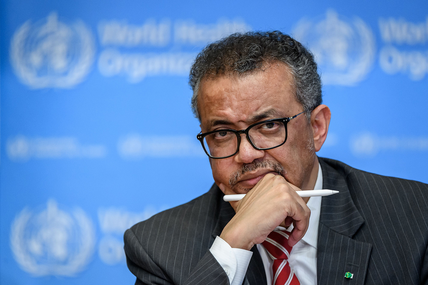 World Health Organization Director-General Tedros Adhanom Ghebreyesus attends a news briefing on the coronavirus in Geneva on March 11, the day the WHO classified the outbreak a pandemic.