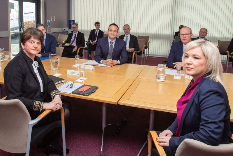 Irish Taoiseach (prime minister) Leo Varadkar meets with Northern Ireland First Minister Arlene Foster and Northern Ireland Deputy First Minister Michelle O'Neill to discuss the ongoing coronavirus pandemic.