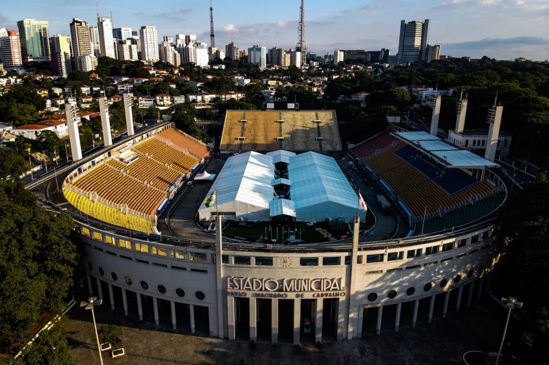 An aerial view of  an emergency makeshift field hospital at Pacaembu Stadium for coronavirus patients with a capacity of 200 beds in São Paulo on March 27.