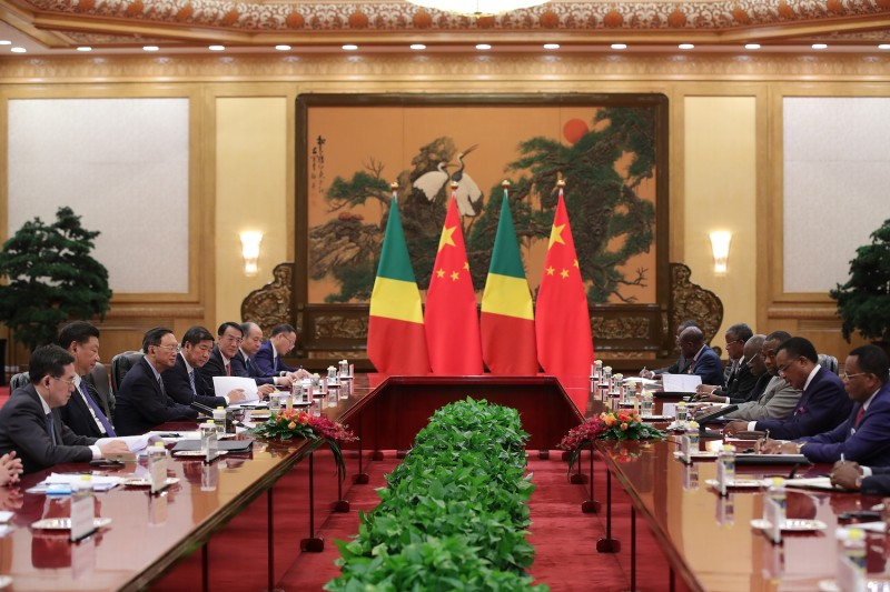 Congo President Denis Sassou Nguesso attends a meeting with Chinese President Xi Jinping.