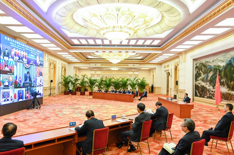 Chinese Premier Li Keqiang attends a special summit of the Association of Southeast Asian Nations on COVID-19 via video link in Beijing on April 14.