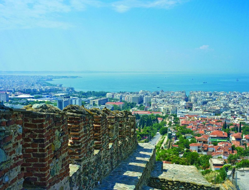 The city of Thessaloniki wraps around the Mediterranean Sea
