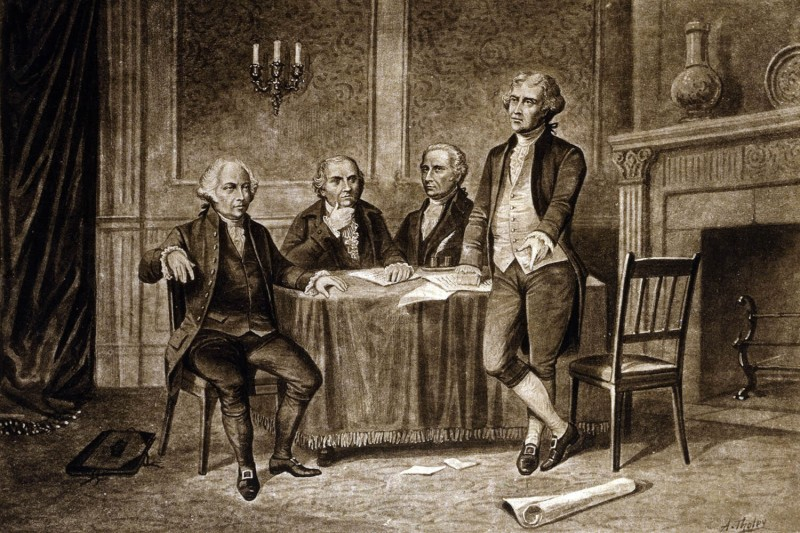 A drawing by Augustus Tholey depicting leaders of the Continental Congress in 1775 (from left): John Adams, Robert Morris, Alexander Hamilton, and Thomas Jefferson.