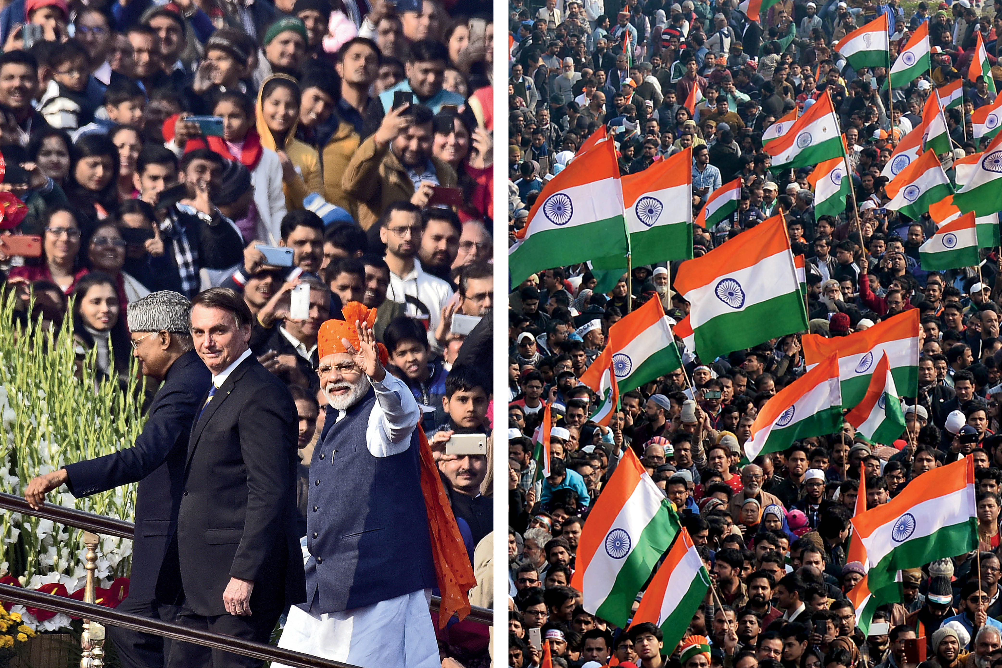 Left: Indian Prime Minister Narendra Modi, with Brazilian President Jair Bolsonaro and Indian President Ram Nath Kovind during the Republic Day parade at Rajpath in New Delhi on Jan. 26. Right: Protesters celebrate the same day at Shaheen Bagh in New Delhi.