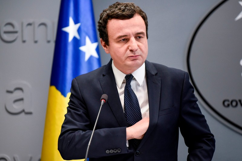 Kosovo's prime minister, Albin Kurti, gestures during a press conference in Pristina on Feb. 26.