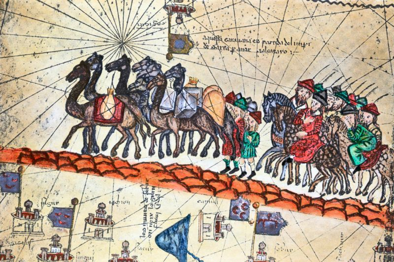 A 14th-century painting showing the caravan of Niccolò and Maffeo Polo crossing Asia.