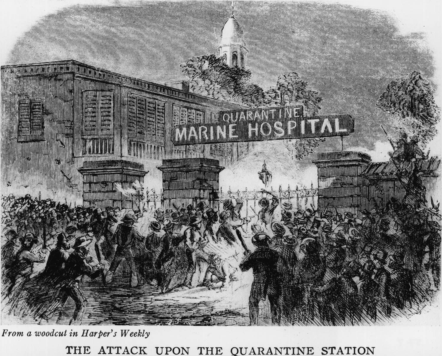 A woodcut depicts a mob attacking the Quarantine Marine Hospital in New York in 1858 because they believed that its use was responsible for the numerous yellow fever epidemics.