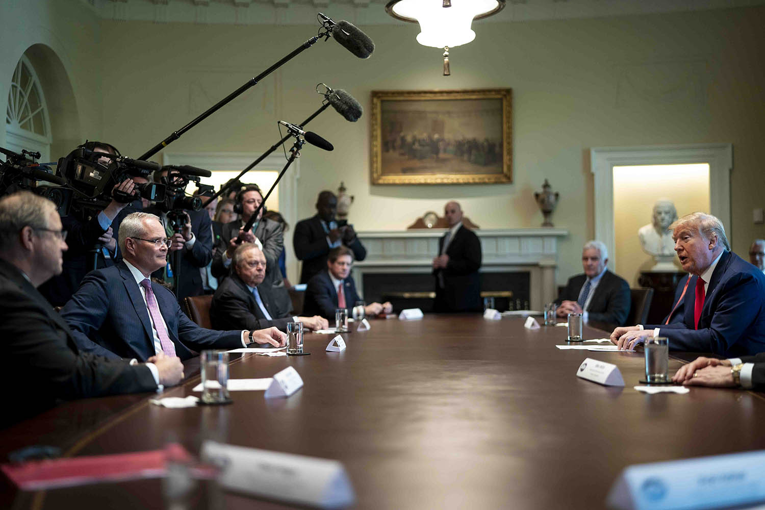 U.S. President Donald Trump speaks during a roundtable meeting with energy sector CEOs at the White House in Washington on April 3.