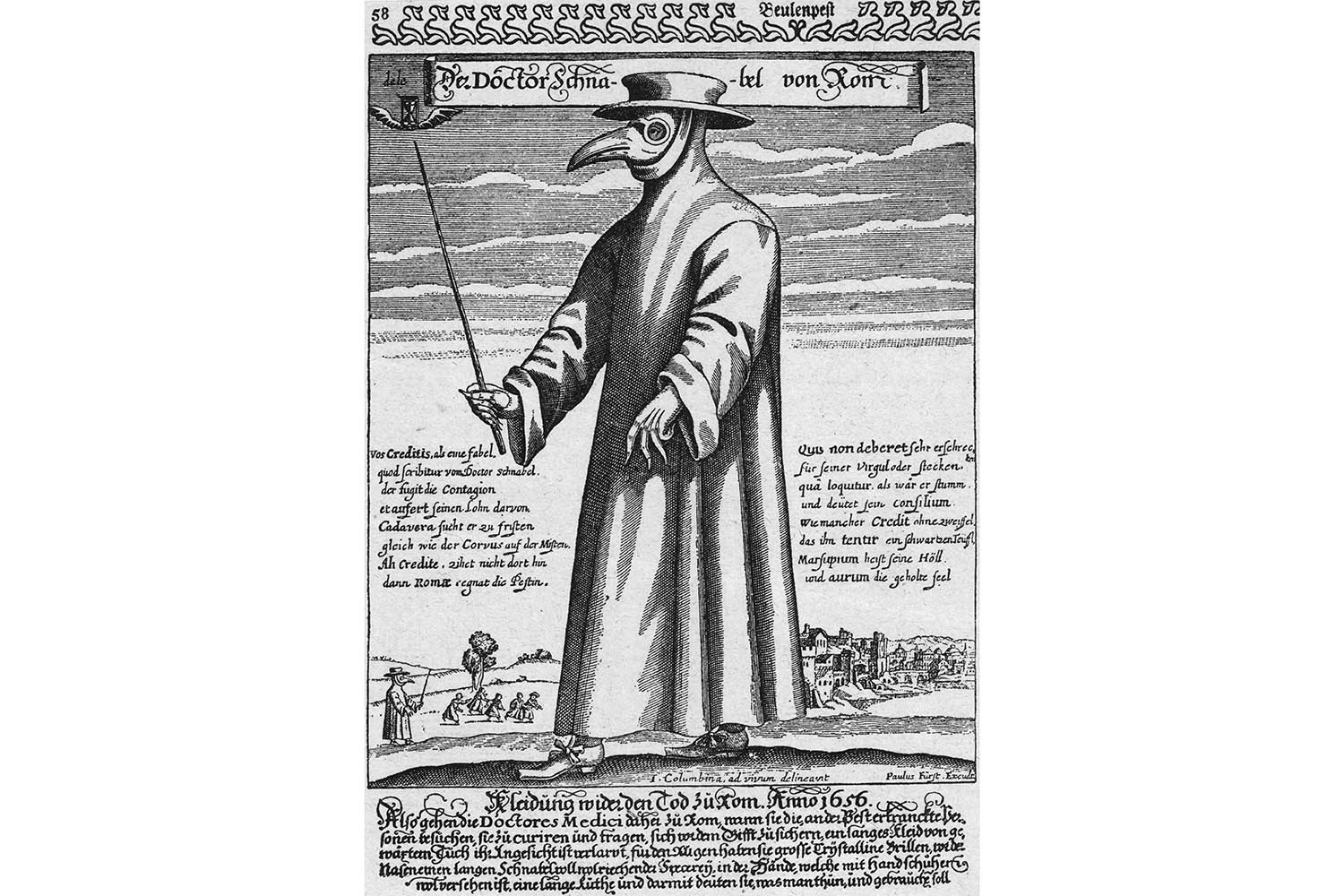 A plague doctor in protective clothing, circa 1656 . The beak mask held spices thought to purify air and the wand was used to avoid touching patients.