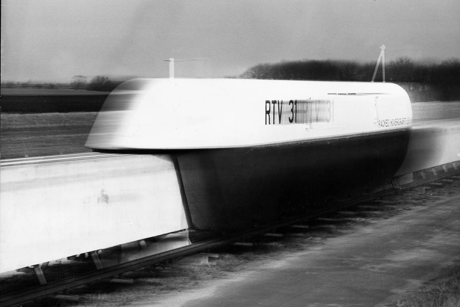 "The RTV 31 hovertrain ""achieves a fair turn of speed"" during a test run in Cambridgeshire, England, on Feb. 7, 1973."