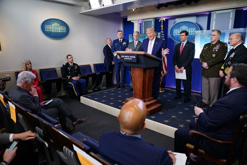 U.S. President Donald Trump speaks during the daily briefing on the coronavirus in Washington on April 1.