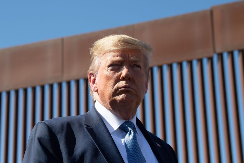 U.S. President Donald Trump visits the U.S.-Mexico border fence in Otay Mesa, California on Sept. 18, 2019.
