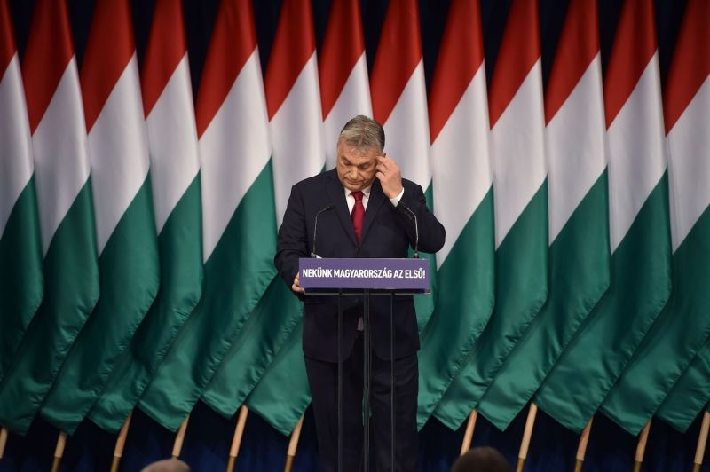 Hungarian Prime Minister Viktor Orban delivers his annual state of the nation speech in front of Fidesz party members.