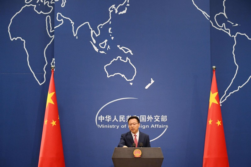 Chinese Foreign Ministry spokesperson Zhao Lijian speaks at the daily media briefing in Beijing on April 8.