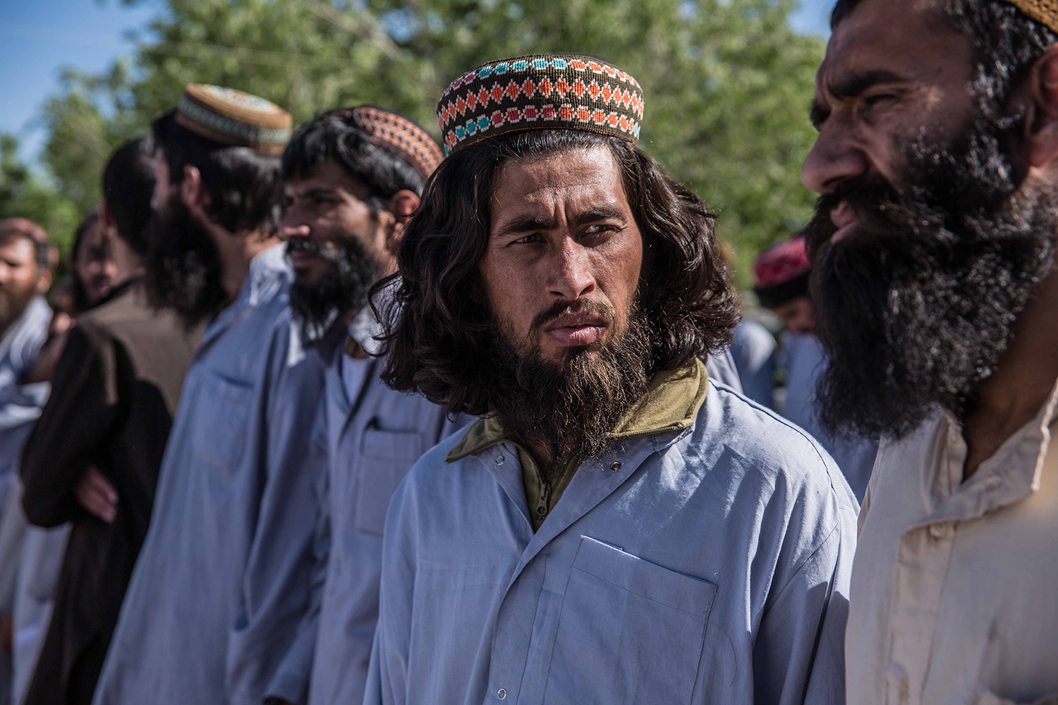 Taliban prisoners wait for their release at a government prison north of Kabul on May 26. Stefanie Glinski for Foreign Policy