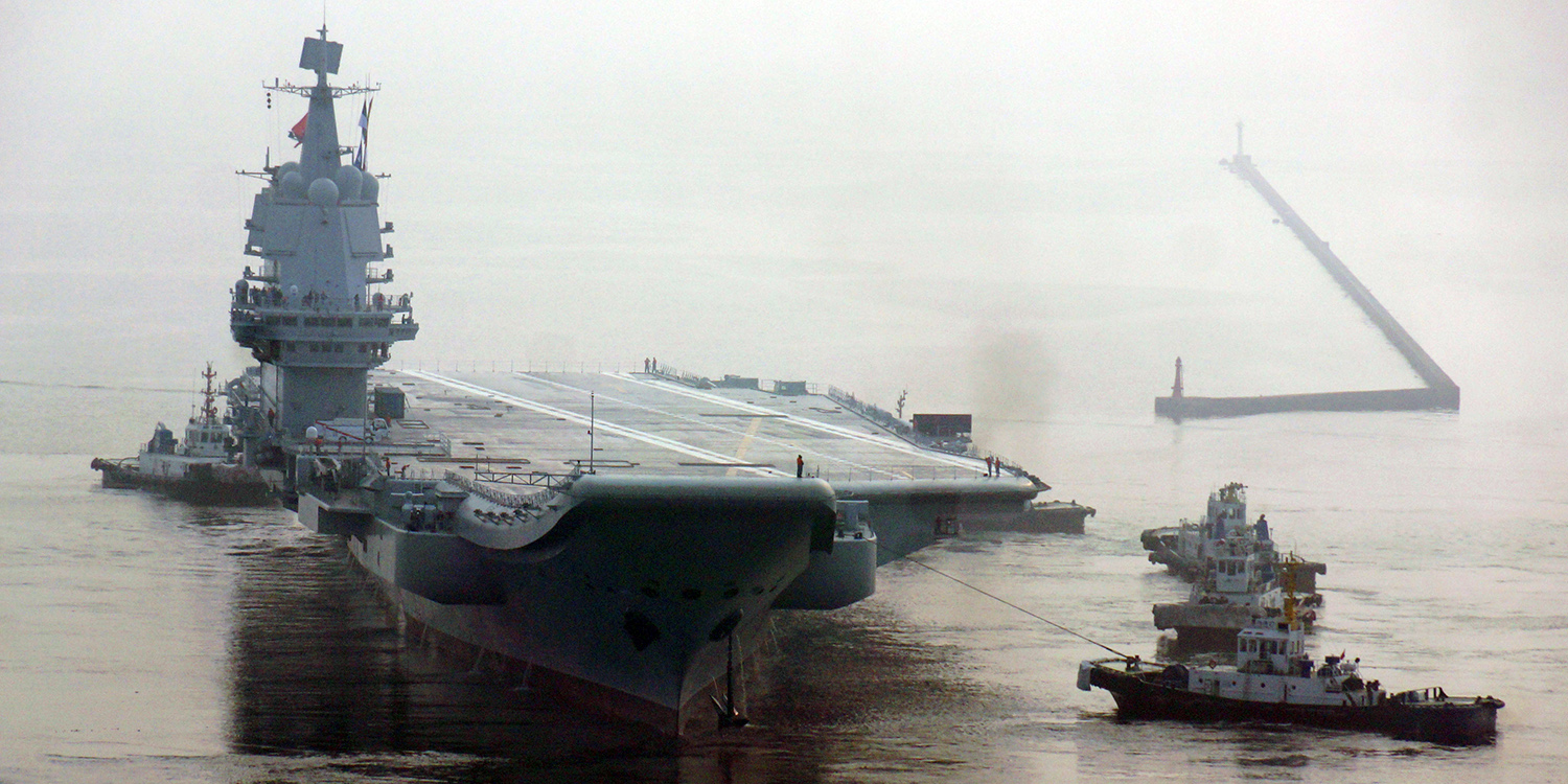 China's first home-built aircraft carrier sets out for sea trials in Dalian, China, on May 13, 2018