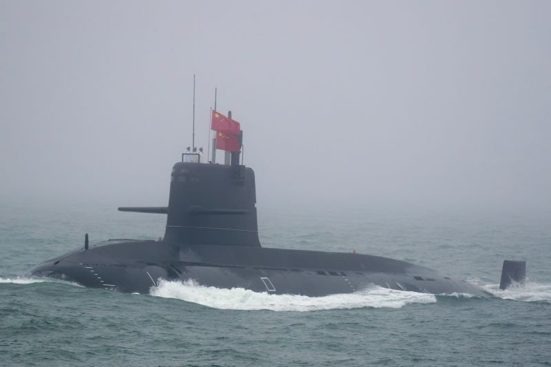 A Great Wall 236 submarine of the Chinese People's Liberation Army Navy in the sea near Qingdao, China, on April 23, 2019.