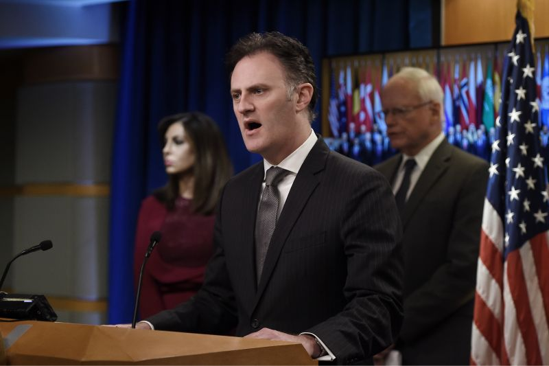 State Department counterterrorism envoy Nathan Sales speaks at a press conference.