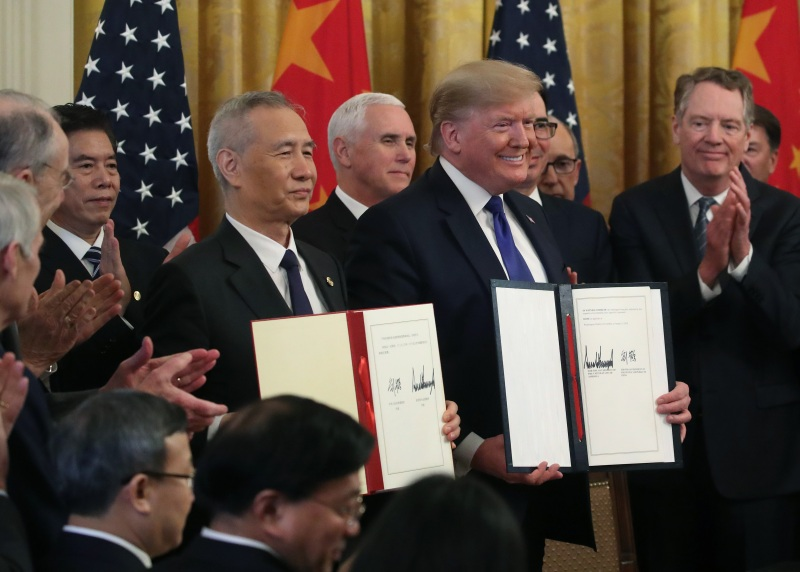 U.S. President Donald Trump and Chinese Vice Premier Liu He at the signing ceremony for the U.S.-Chinese trade agreement at the White House in Washington, DC, on Jan. 15, 2020.