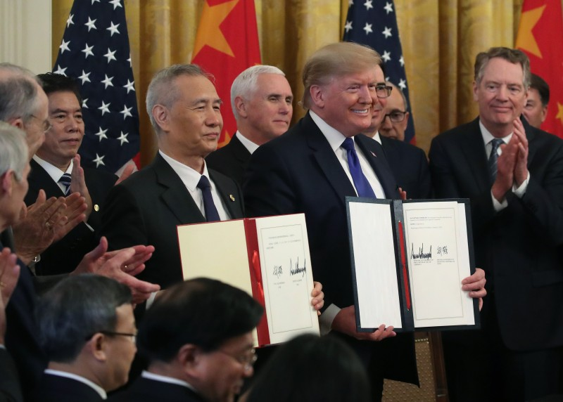 U.S. President Donald Trump and Chinese Vice Premier Liu He at the signing ceremony for the U.S.-Chinese trade agreement at the White House in Washington on Jan. 15.
