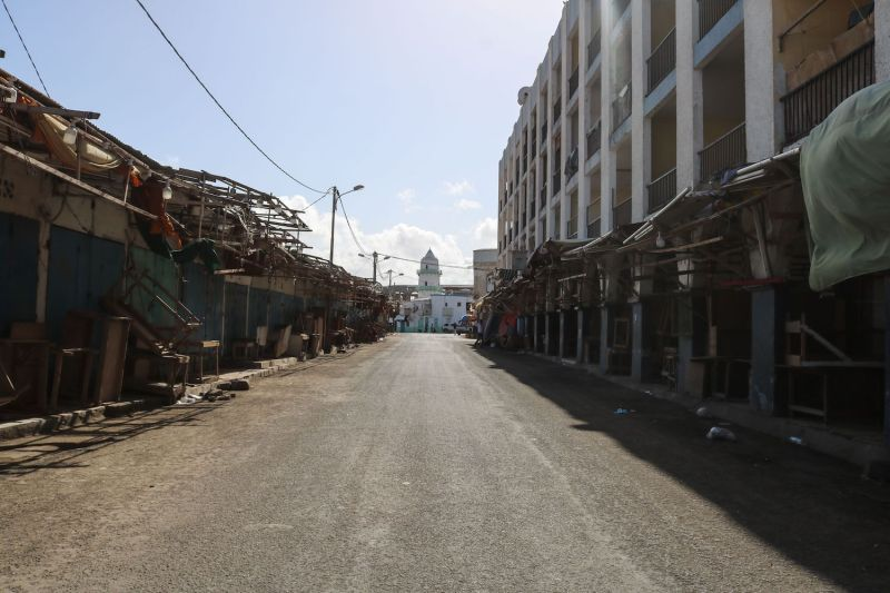 All shops are closed at a clothes market in Djibouti during the coronavirus pandemic.