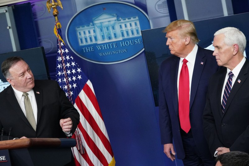 U.S. President Donald Trump and Secretary of State Mike Pompeo brief reporters at the White House.