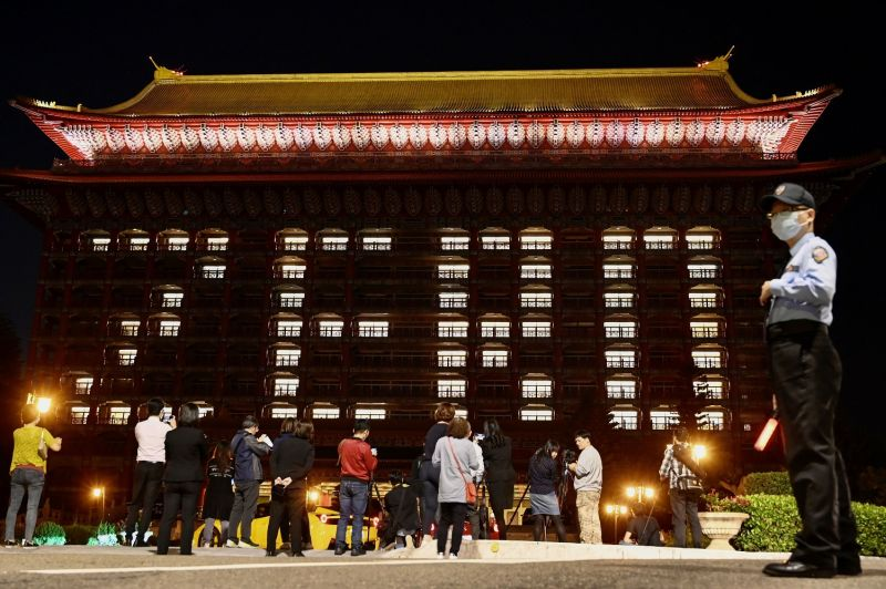 """Rooms at the Grand Hotel are illuminated to form the word """"zero"""" after Taiwan reported no new coronavirus cases for two consecutive days"""