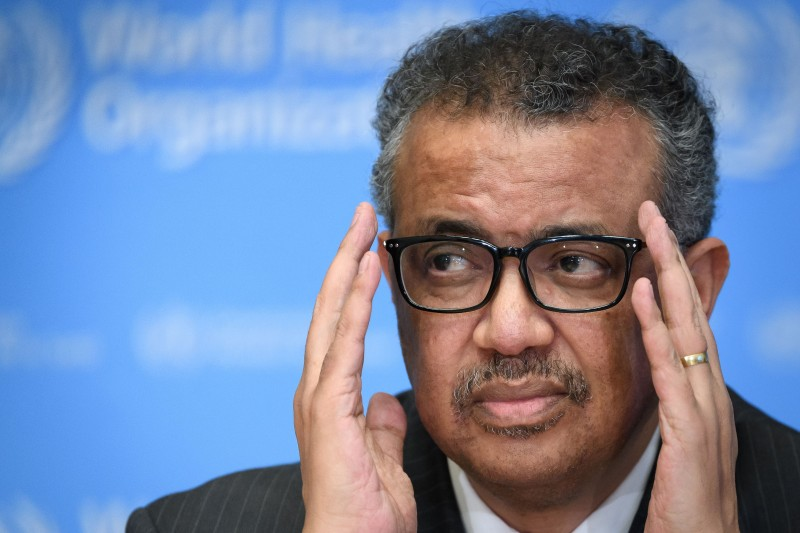 Tedros Adhanom Ghebreyesus, director-general of the World Health Organization, at a press briefing at the organization's headquarters in Geneva on March 11.
