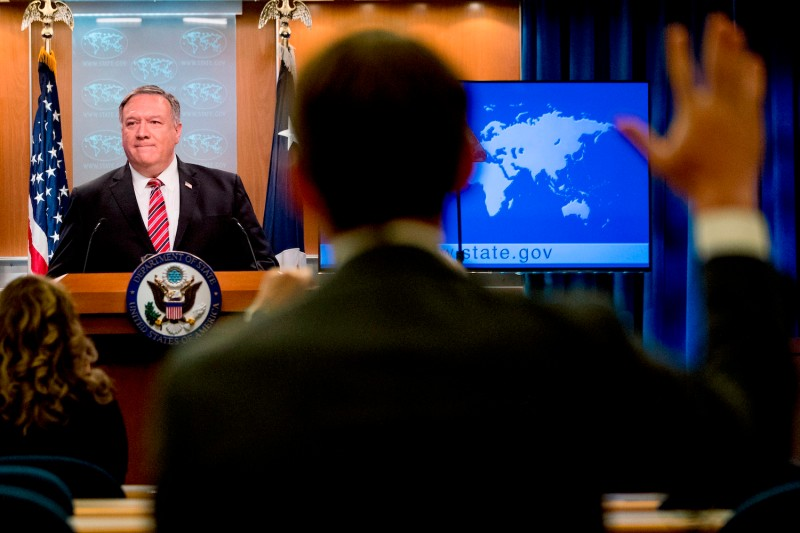 US Secretary of State Mike Pompeo takes a question from a reporter during a news conference at the State Department on April 29, 2020, in Washington, D.C.