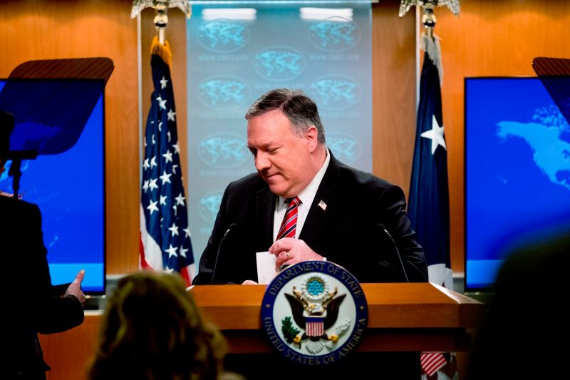 U.S. Secretary of State Mike Pompeo steps away from the podium following a news conference at the State Department in Washington on April 29.