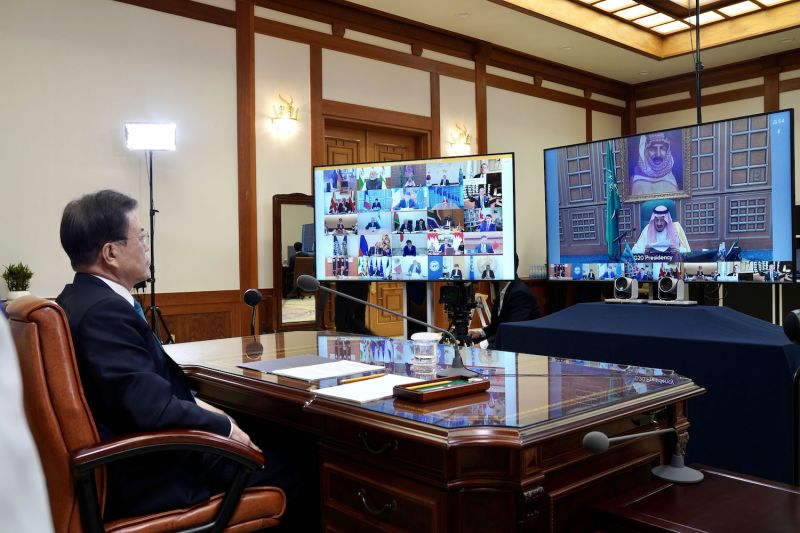 South Korean President Moon Jae-in speaks with global leaders on the coronavirus response and shares South Korea's strategy during a virtual summit on March 26.